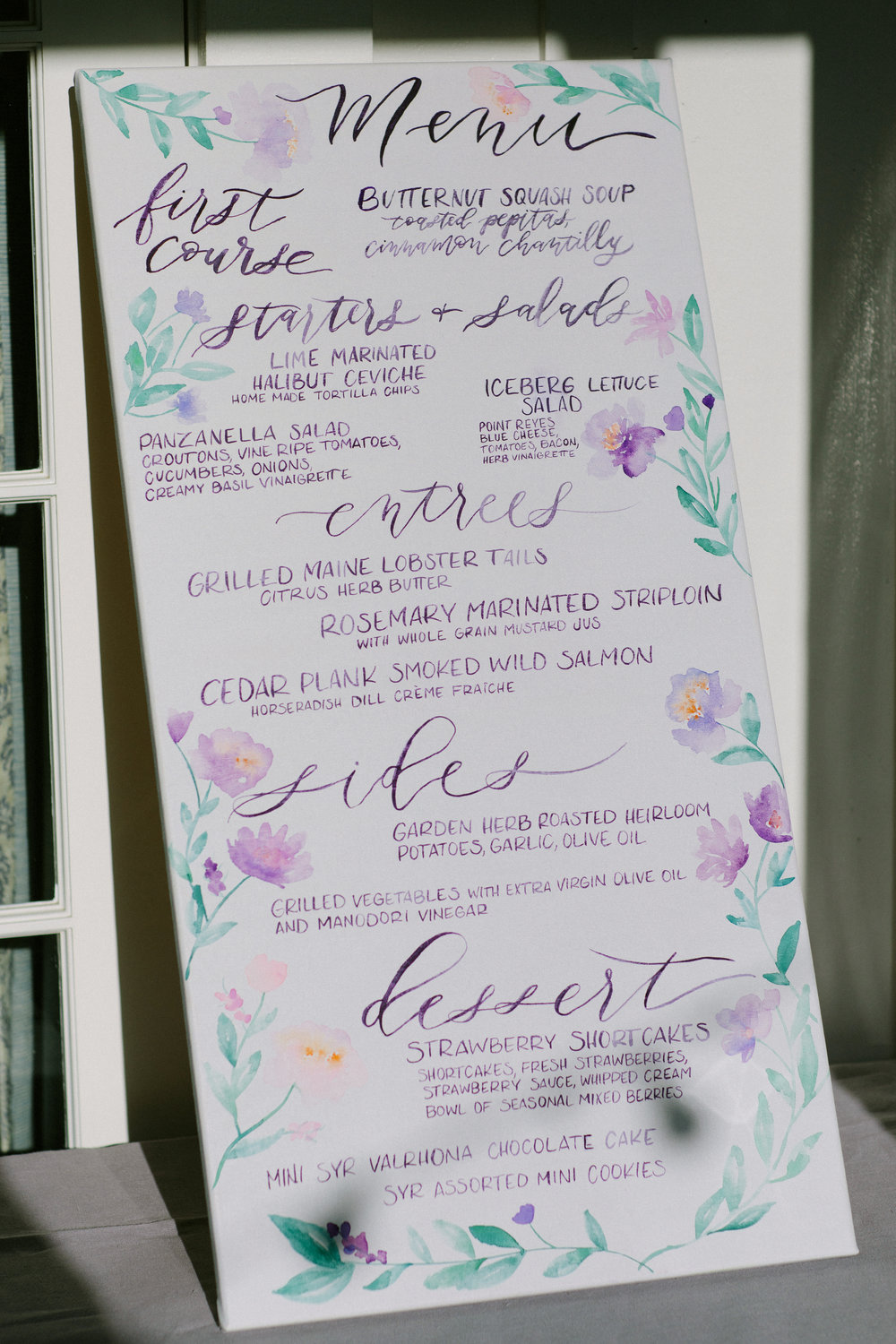 www.santabarbarawedding.com | San Ysidro Ranch | Imagine Events | Millay and Young Photo | Menu