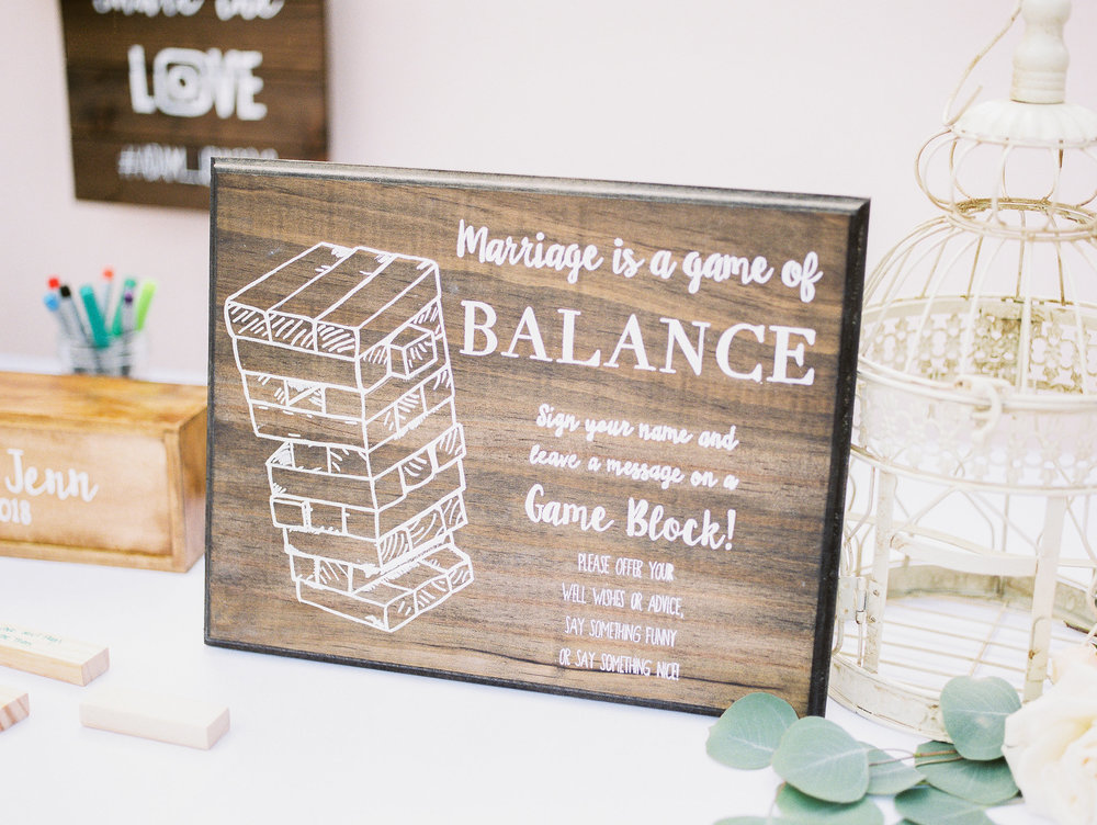 www.santabarbarawedding.com | Hilton Santa Barbara | Grace Kathryn | Events by M and M | Guest Book Jenga Blocks