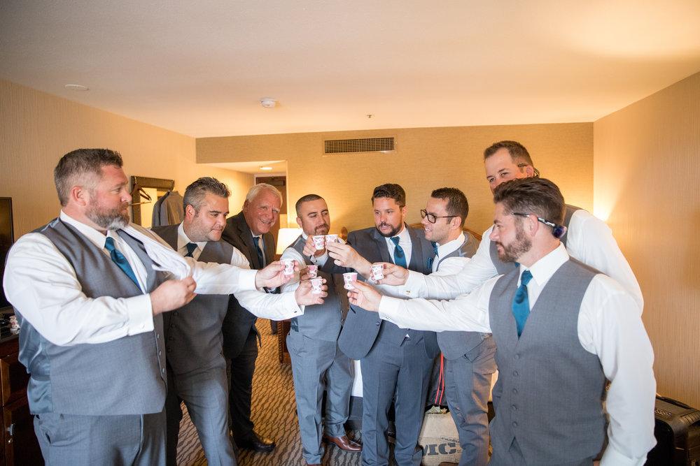 www.santabarbarawedding.com | Elings Park | Waller Weddings | Groomsmen getting ready | Toast