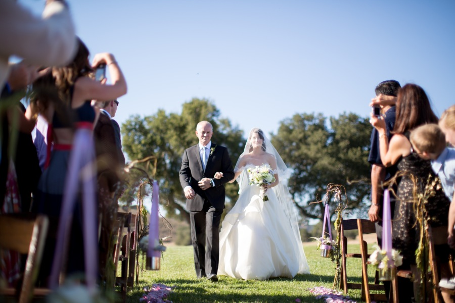 www.santabarbarawedding.com | Soigne Productions | Michael and Anna Costa | Zaca Creek Ranch | Bride and Father Walking down Aisle