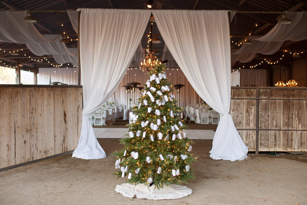www.santabarbarawedding.com | Whispering Rose Ranch | Ann Johnson Events | Anna J Photo | Christmas Tree | Escort Cards