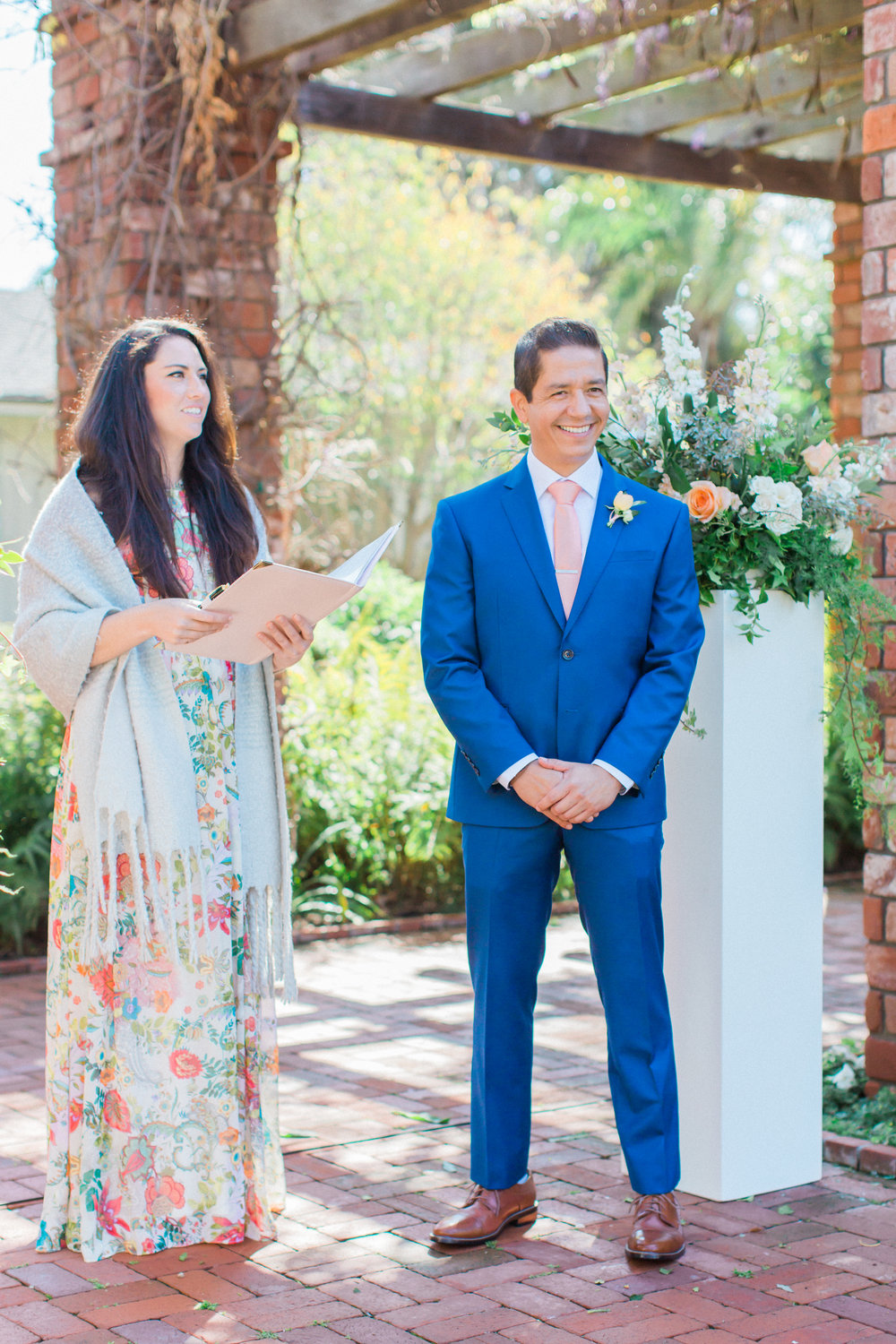 www.santabarbarawedding.com | James and Jess | Nina Moore Designs | Belmond El Encanto | Groom during ceremony