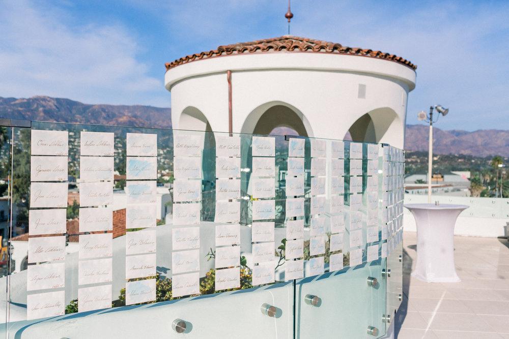www.santabarbarawedding.com | Our Lady of Mount Carmel | MOXI | Ann Johnson | Islay Events | James & Jess | Escort Cards