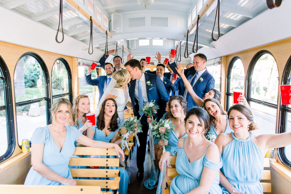 www.santabarbarawedding.com | Our Lady of Mount Carmel | MOXI | Ann Johnson | Islay Events | James & Jess | Bridal Party | Trolley