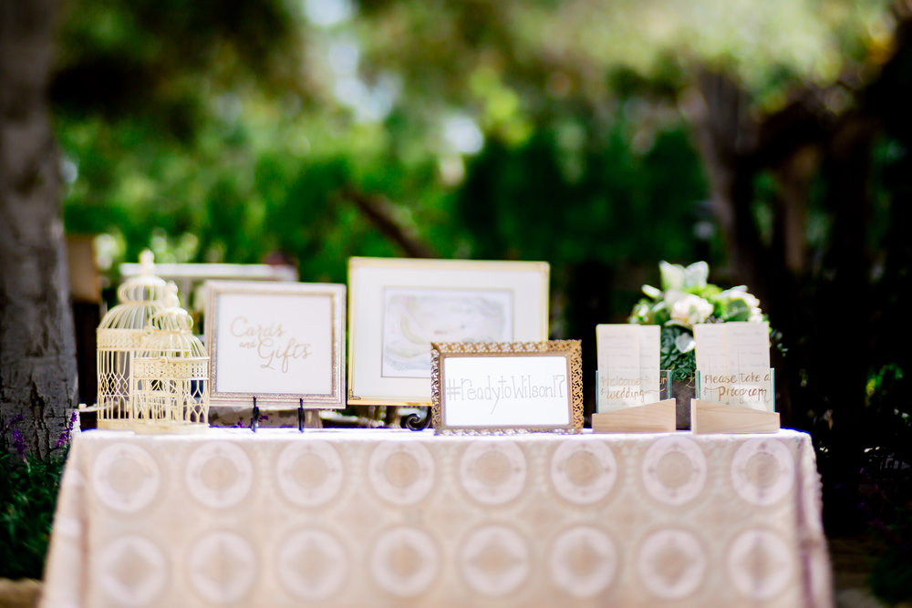 www.santabarbarawedding.com | Rewind Photography | Events by M and M | Santa Barbara Historical Museum | Gift Table