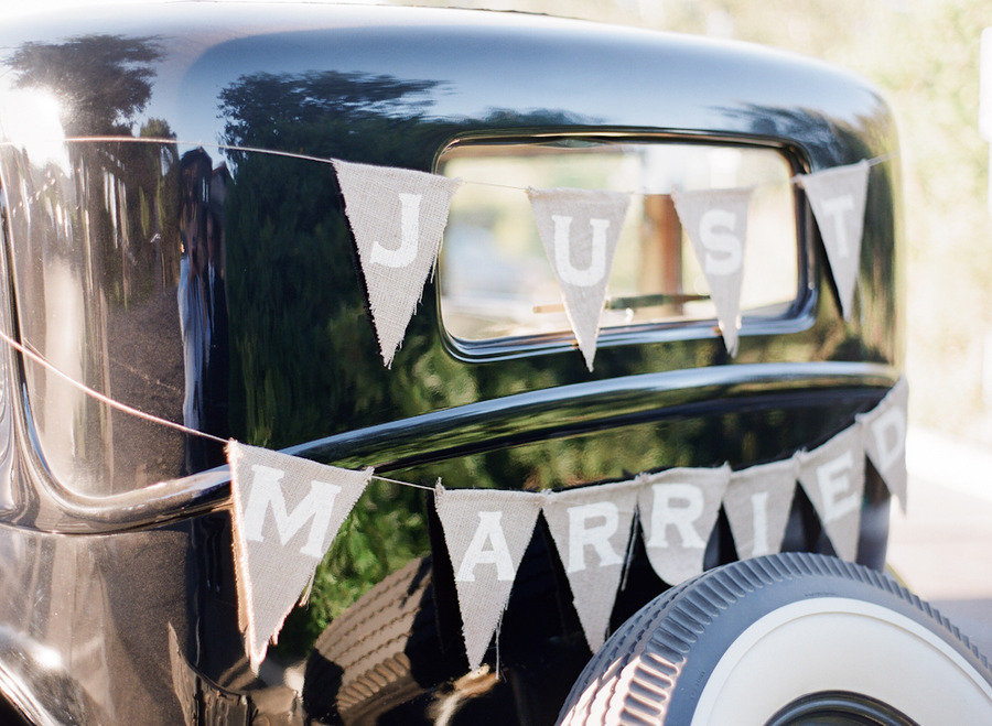 www.santabarbarawedding.com | Firestone Vineyard | Soigne Productions | Michael and Anna Costa | Vintage Car | Just Married