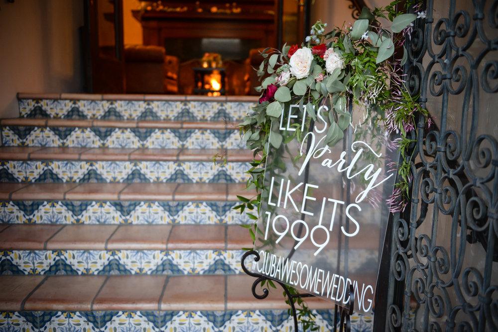 www.santabarbarawedding.com | Alice Keck Park | Santa Barbara Club | Half Full Photography | Reception Sign