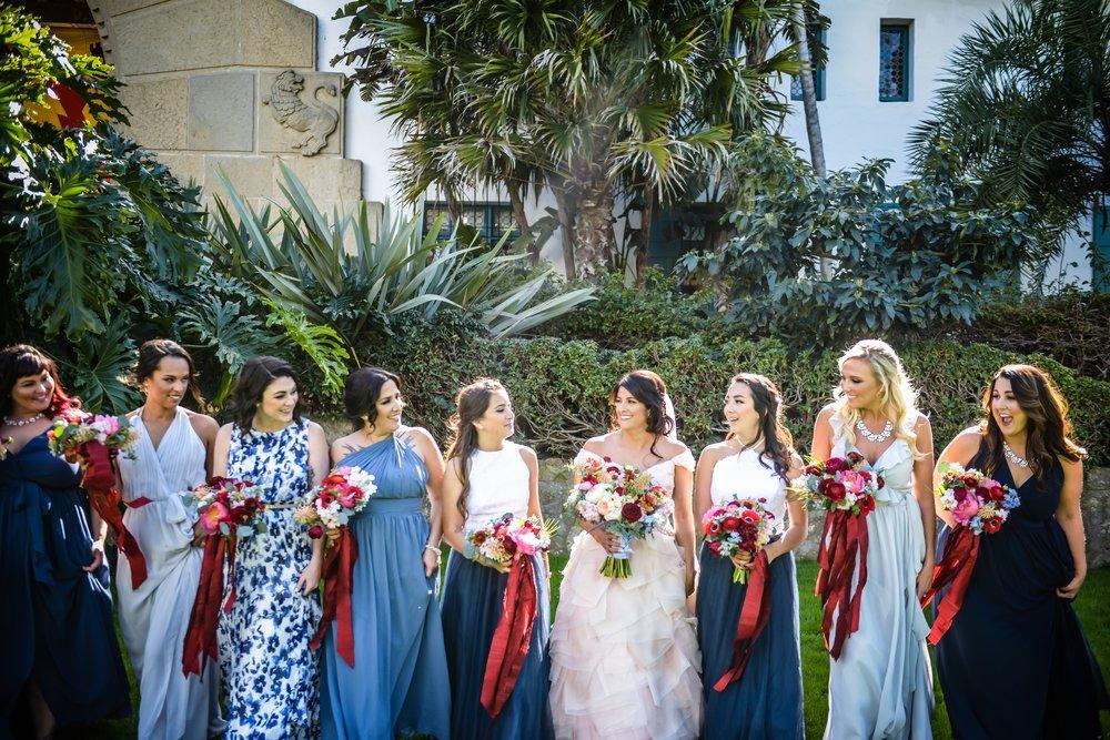 www.santabarbarawedding.com | Alice Keck Park | Santa Barbara Club | Half Full Photography | Bridemaids