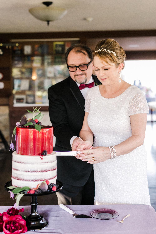 www.santabarbarawedding.com   Anna Delores   Ojai Retreat   Cutting the Cake