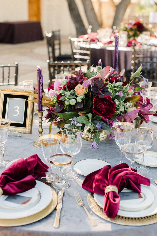www.santabarbarawedding.com   Anna Delores   Ojai Retreat   Reception Table Details