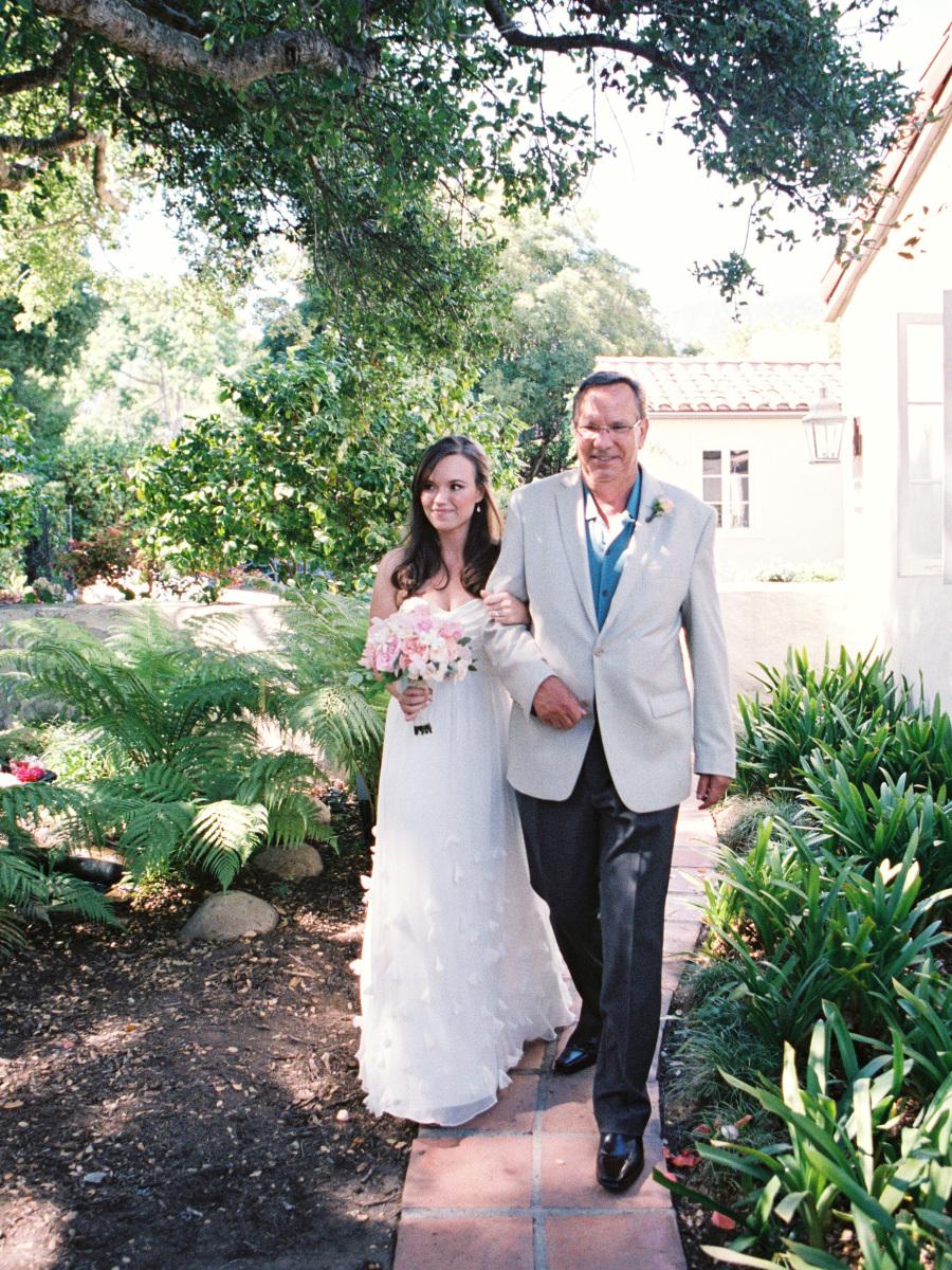 www.santabarbarawedding.com   Soigne Productions   Lane Dittoe   Bride and Father Walking Down Aisle