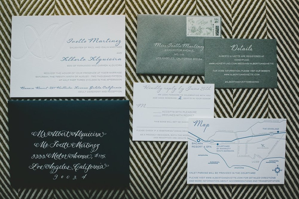 www.santabarbarawedding.com | Bacara Resort & Spa | Alegria By Design | onelove photography | Invitations