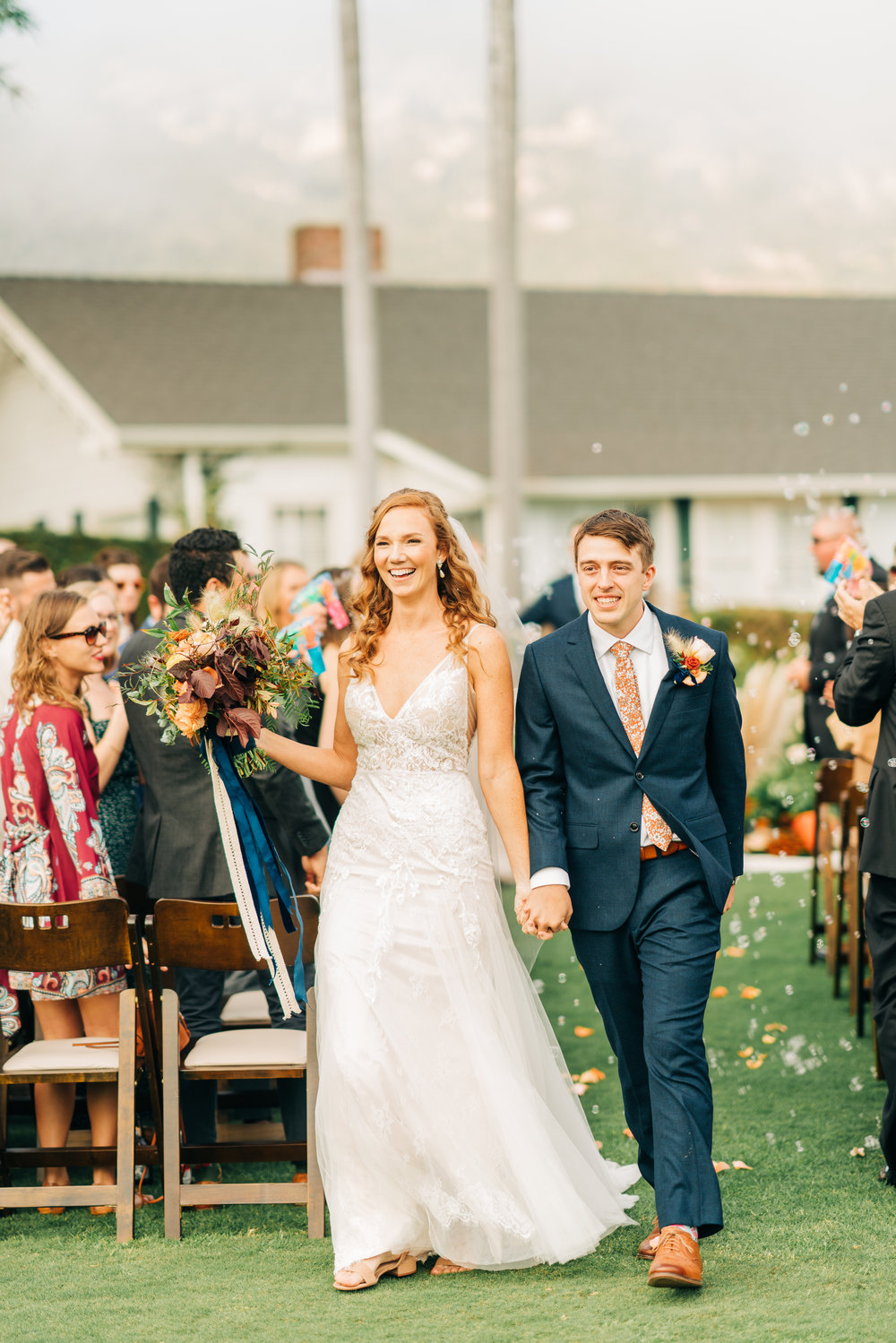 www.santabarbarawedding.com | Brandon Bibbins Photography | The Cottages at Polo Run | Bright Event Rentals | Bride and Groom Exit Ceremony