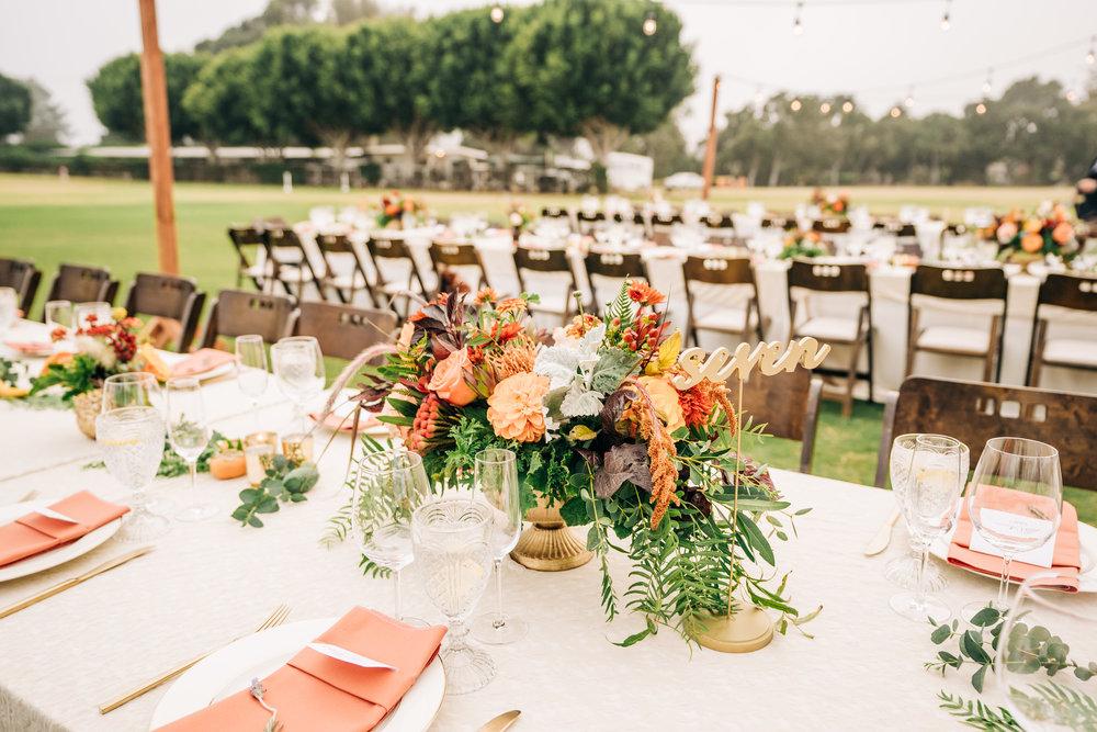 www.santabarbarawedding.com | Brandon Bibbins Photography | The Cottages at Polo Run | Bright Event Rentals | Reception Table Arrangements