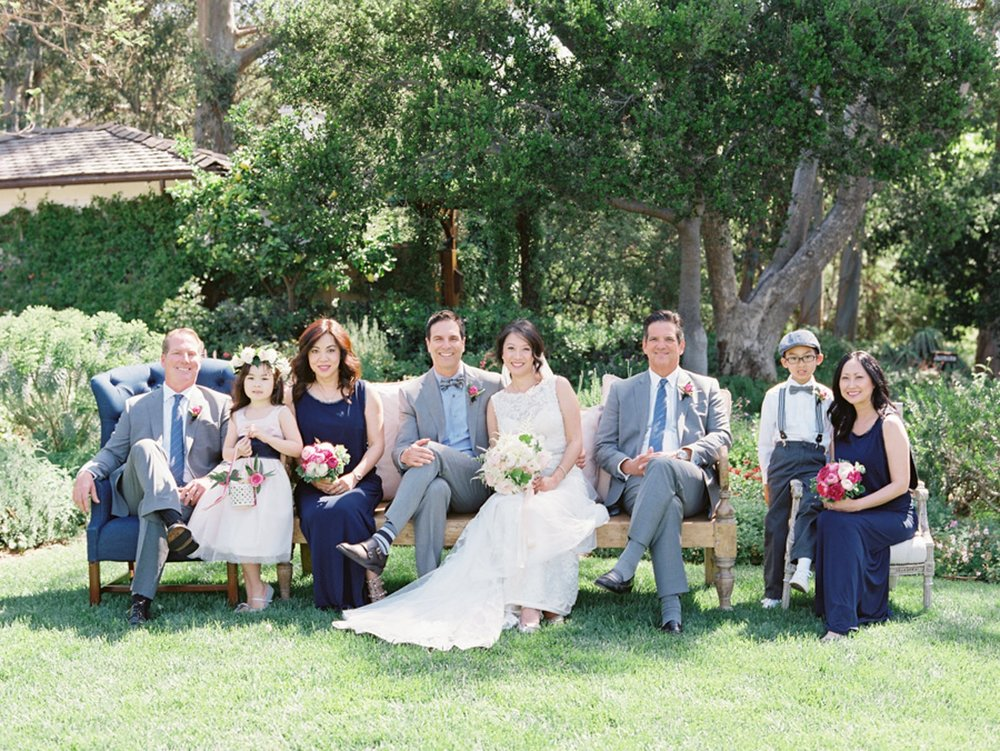 www.santabarbarawedding.com   Michael + Anna Costa Photography   San Ysidro Ranch   Twine Events   Couple with Their Families