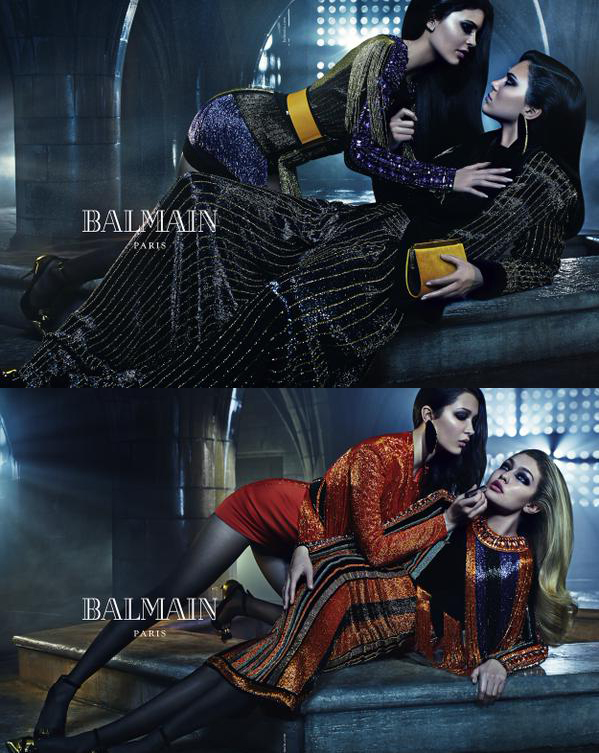 Top: Kendal and Kylie Jenner for Balmain F/W 15  Bottom: Gigi and Bella Hadid for Balmain F/W 15