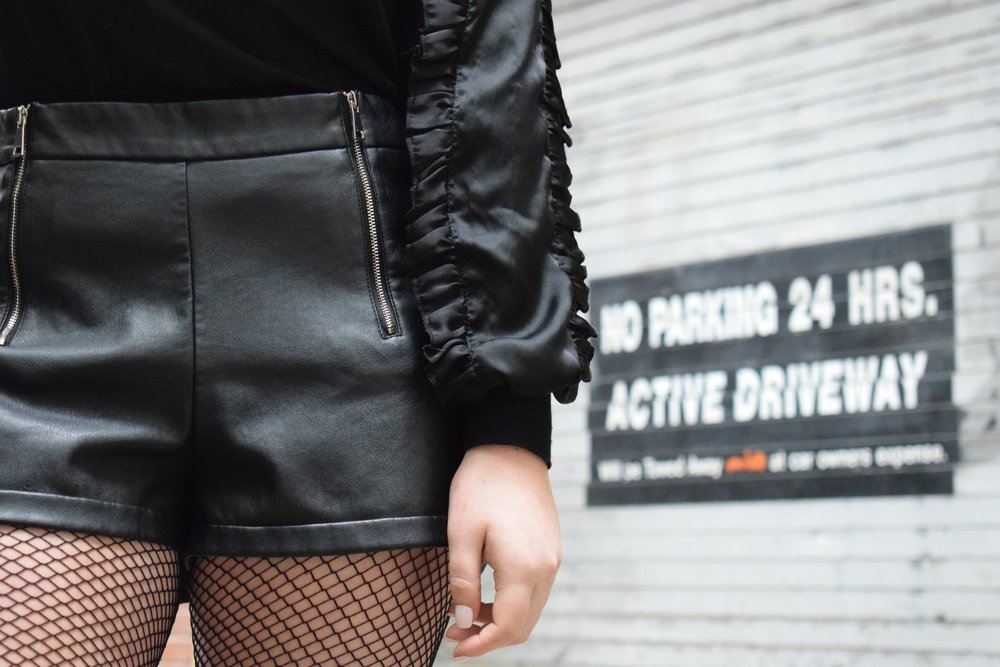 Zara Zip-up Leather Shorts