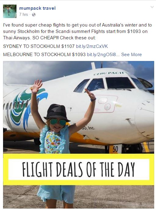 Mumpacktravel shares deals of the day on her Facebook