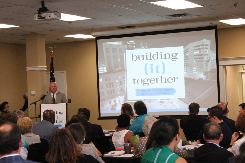 Dr. Ray Watts, president of the University of Alabama at Birmingham, speaks at the Building (it) Together initiative launch.