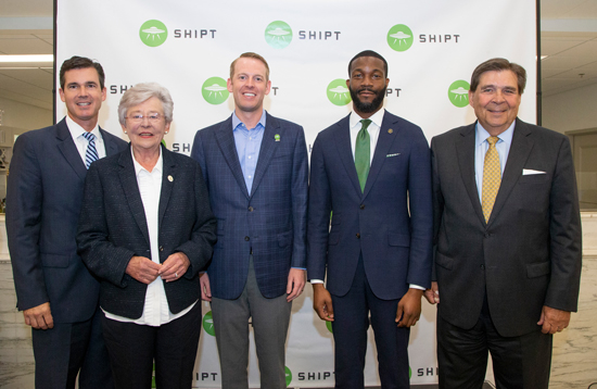 Photo credit Office of Governor Kay Ivey  From left to right, Patrick Murphy of Alabama Power Co., Governor Kay Ivey, Shipt CEO Bill Smith,Birmingham Mayor Randall Woodfin and Jefferson County Commissioner David Carrington.
