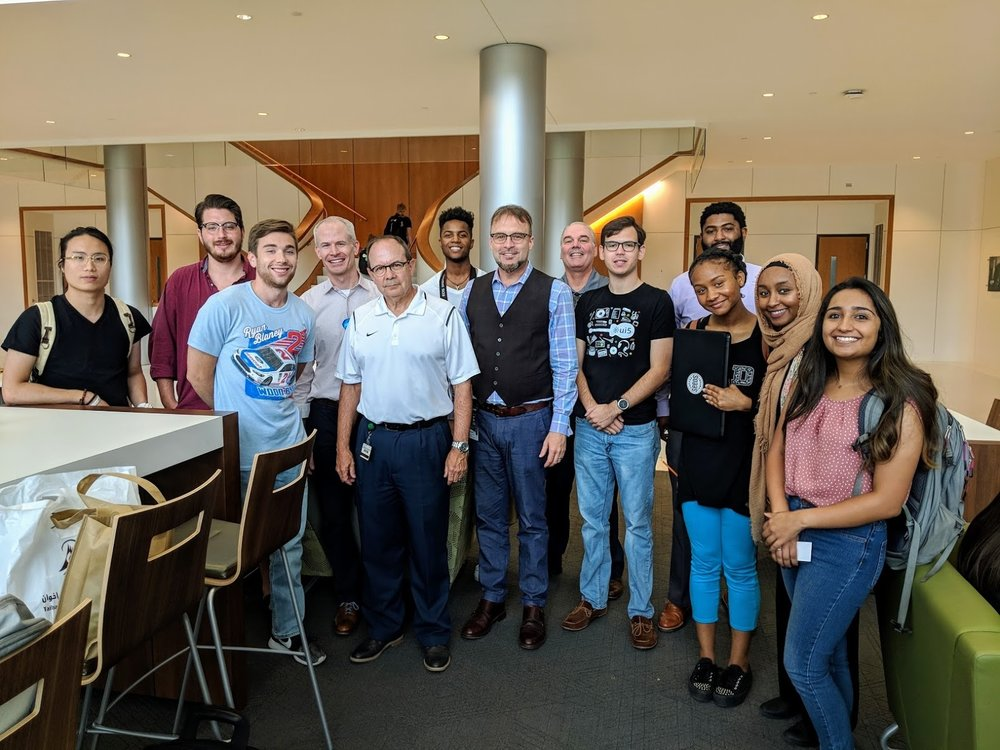 Dr. Murphy, UAB colleagues and students, and Birmingham entrepreneurs meet at the Collat School of Business' weekly entrepreneurship networking gathering. The group meets Wednesdays at noon.