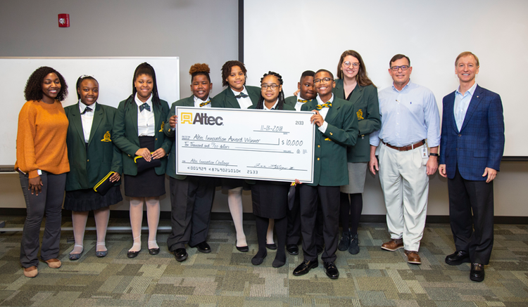 Seventh graders from Malachai Wilkerson Middle School won $10,000 for their anti-bullying app idea.