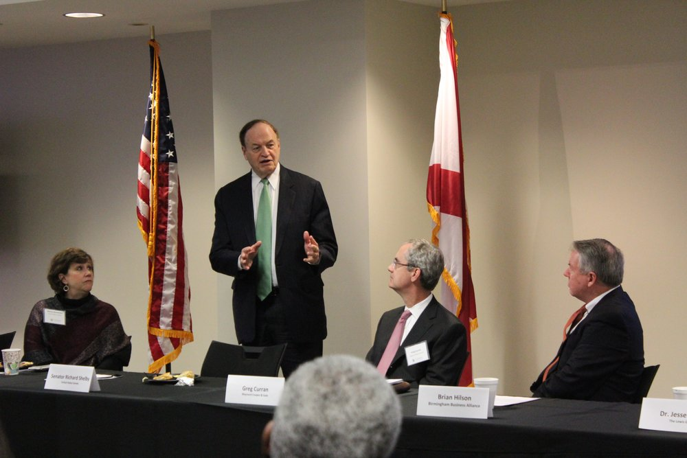 From left, 2019 Birmingham Business Alliance Chairwoman Nancy Goedecke, U.S. Senator Richard Shelby, BBA vice chairman for public policy Greg Curran and BBA President and CEO Brian Hilson at Shelby's recent policy briefing at the BBA office.