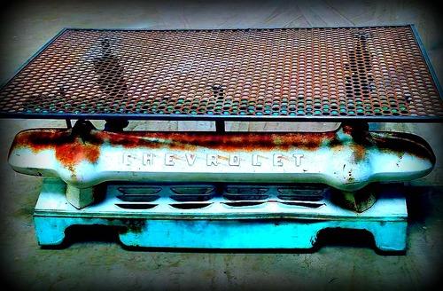 "industrial chevy coffee table""steampunk eddie — thayer art studio"