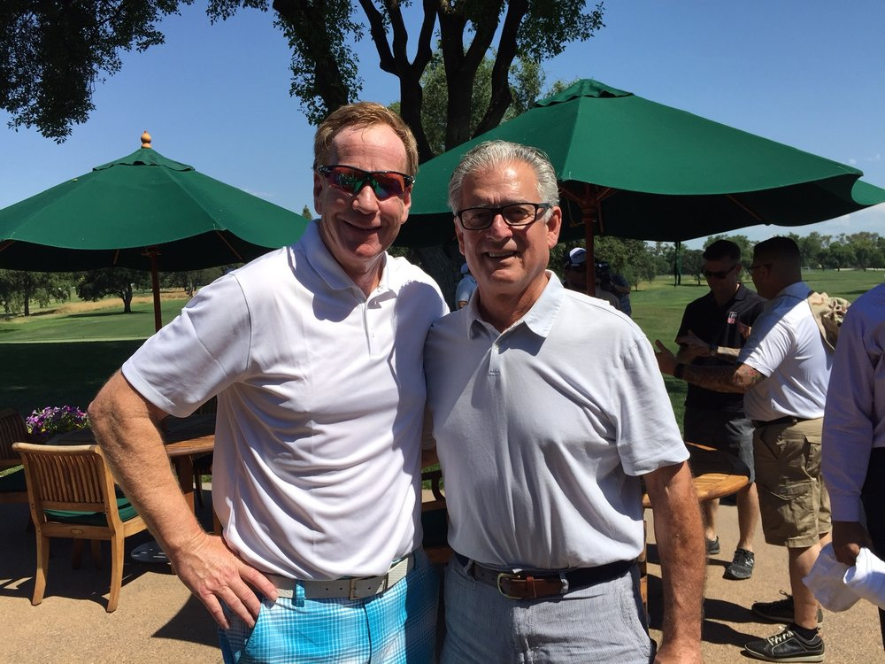 Sacramento sports talk host Grant Napear (l) with B2B founder Mike Pereira.