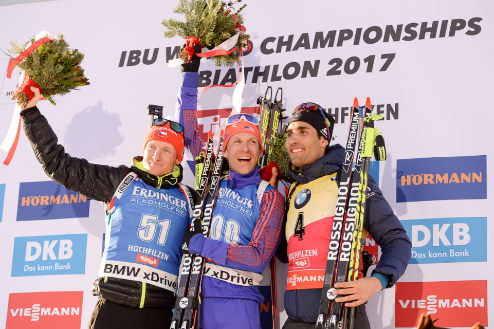 Lowell Bailey (center) receiving Gold Medal at Biathlon World Championships