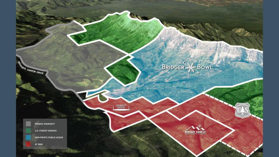 Crosscut and Bohart Ranches labeled red; Bridger Bowl blue; USFS green