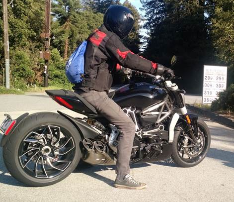 Our writer Justin Dake enjoying his Ducati Diavel.