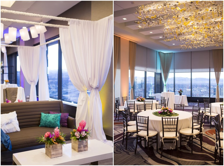 Denver Grand Hyatt Wedding Reception, Luau Themed Wedding