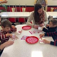 making Valentine's Day card holders for our friends