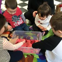a valentine's day themed sensory bin