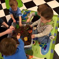 a flower garden sensory bin