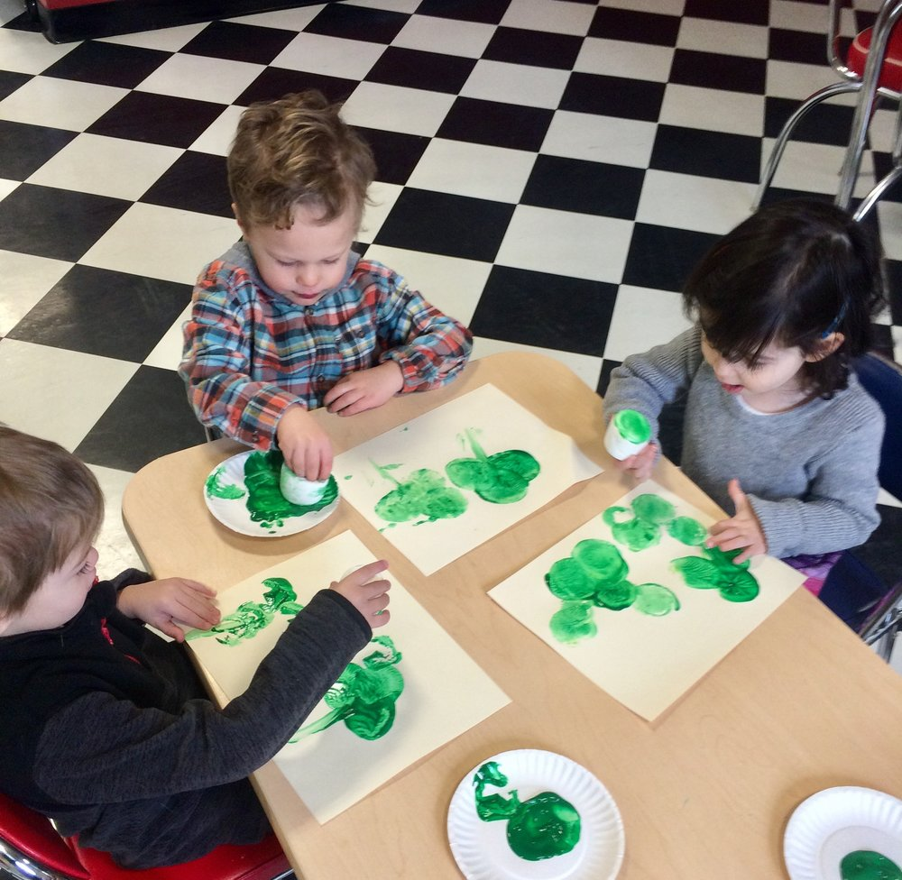 marshmallow stamp shamrocks