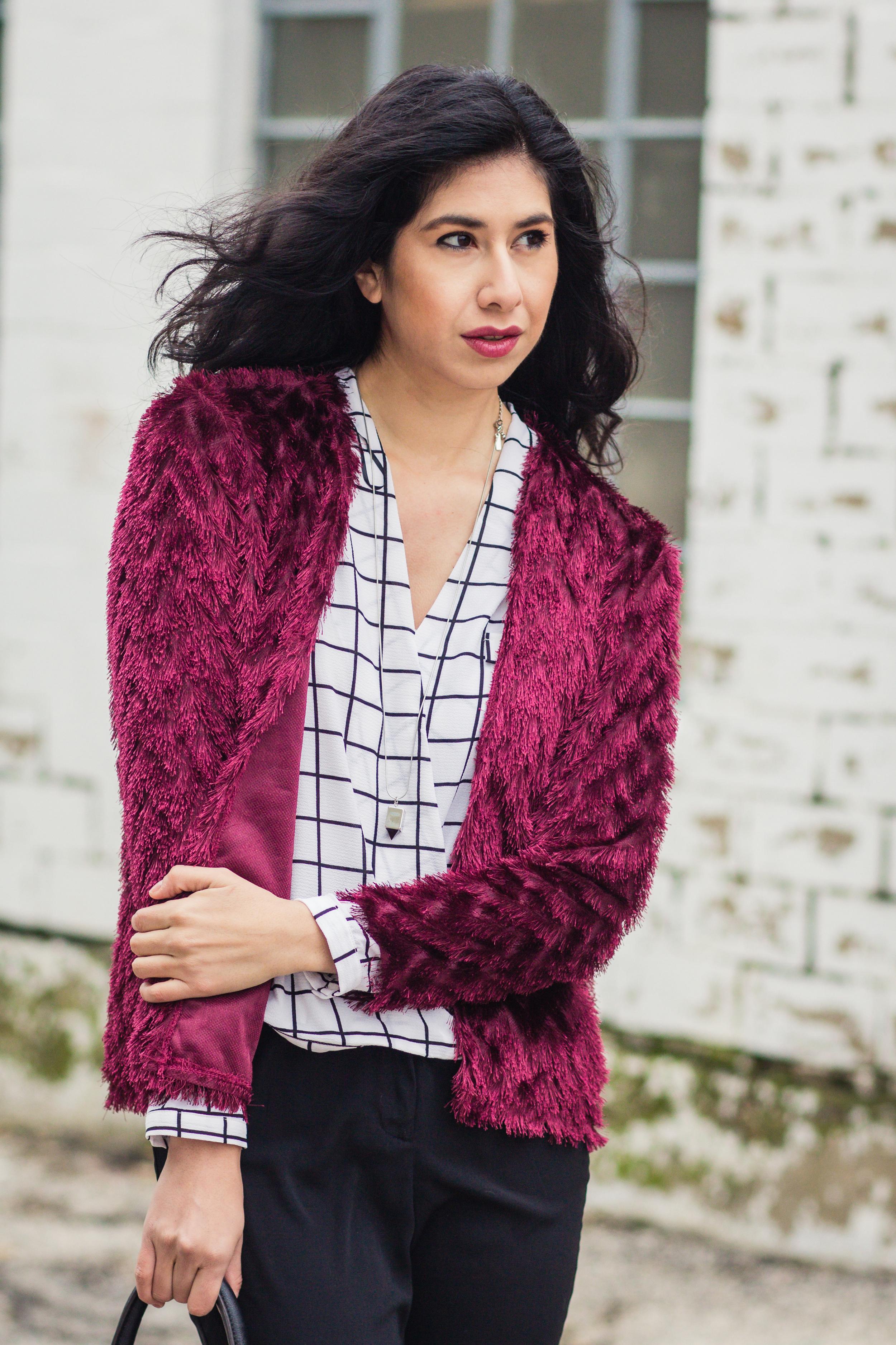 Vanessa red fur blazer-5575