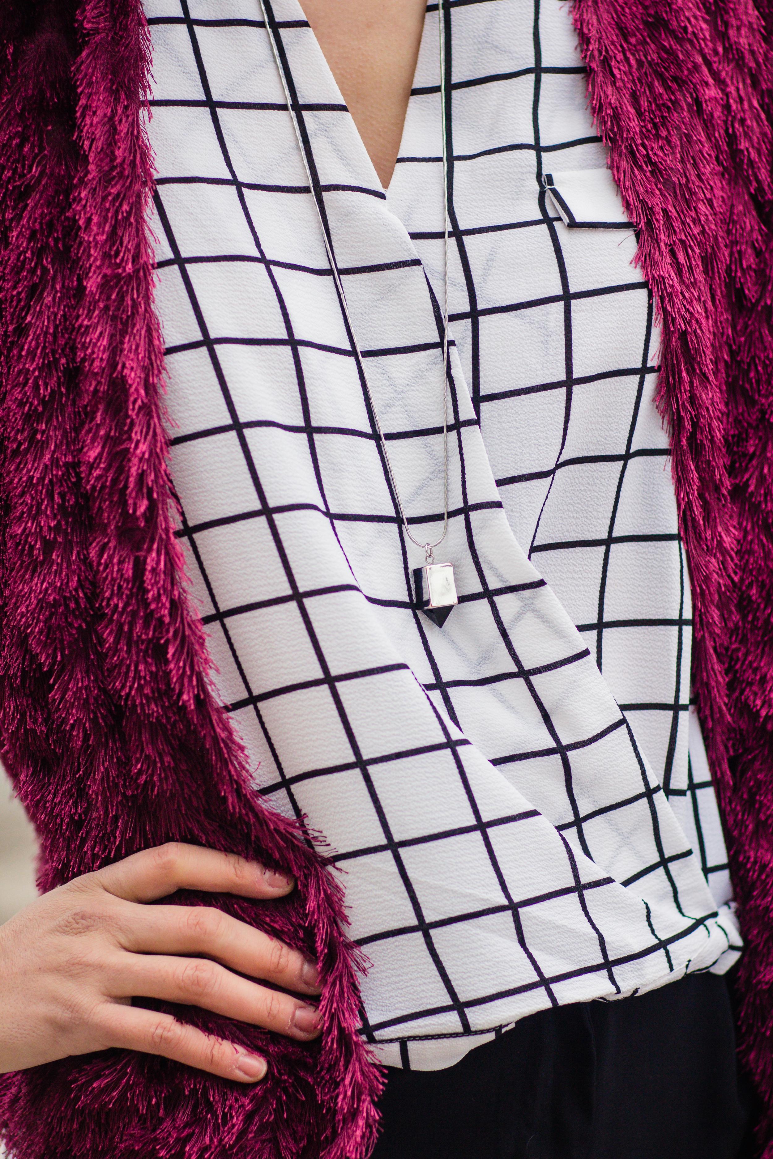 Vanessa red fur blazer-5594
