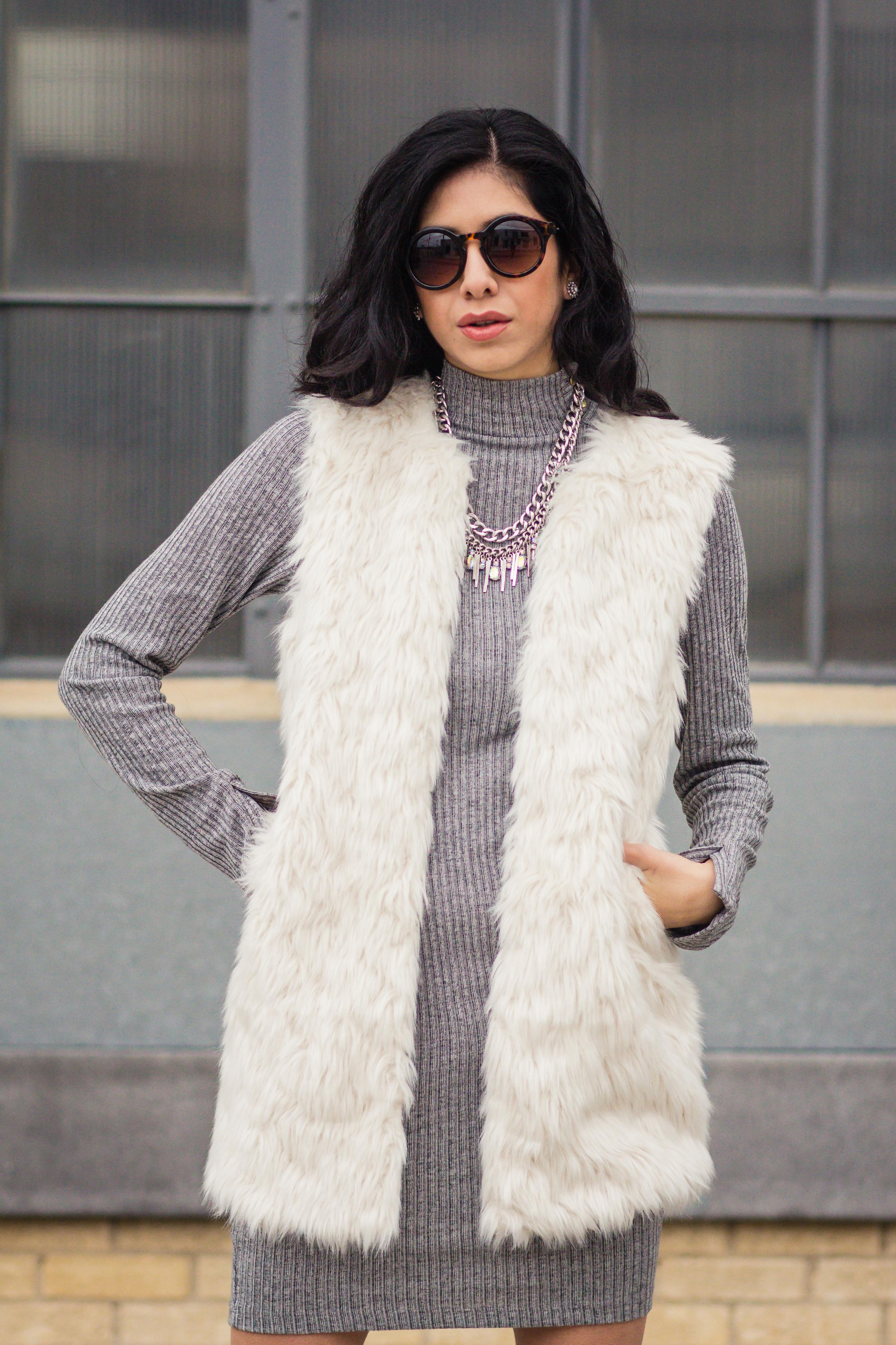 Vanessa white fur vest-5692