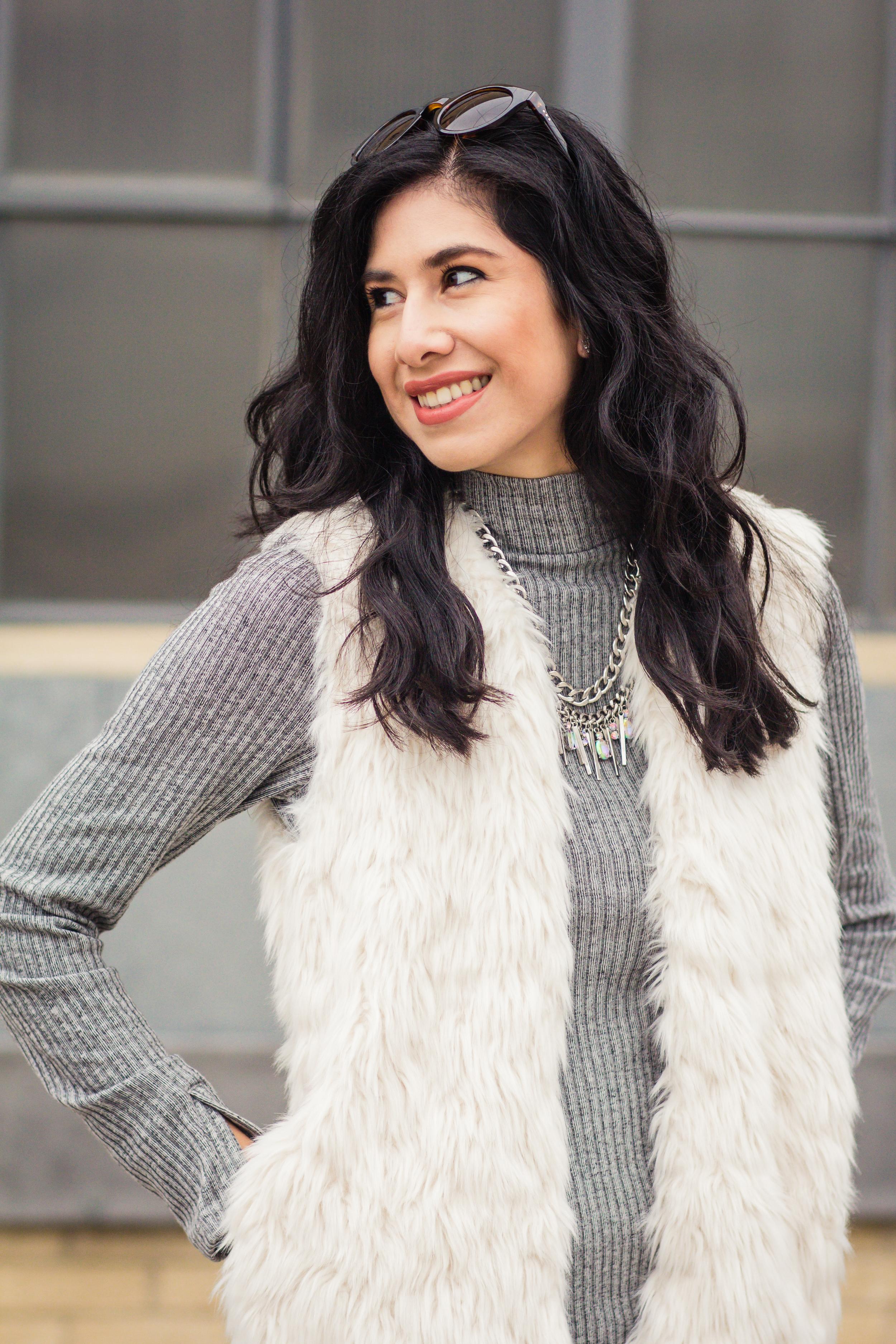 Vanessa white fur vest-5727