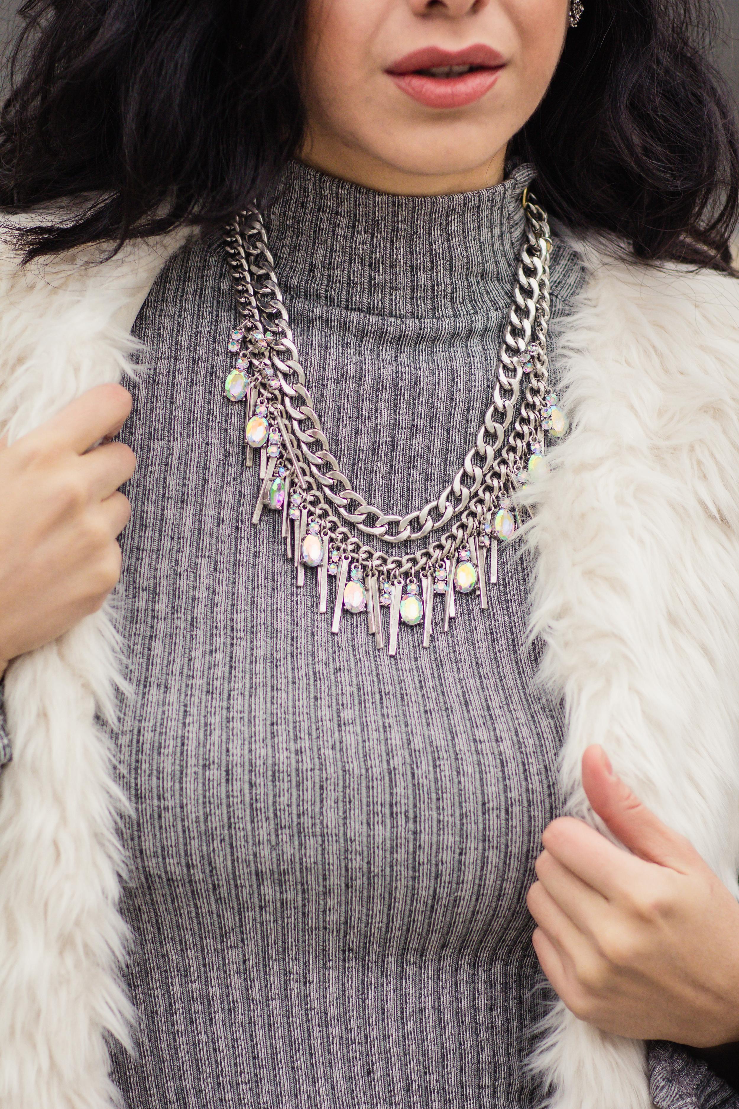 Vanessa white fur vest-5748