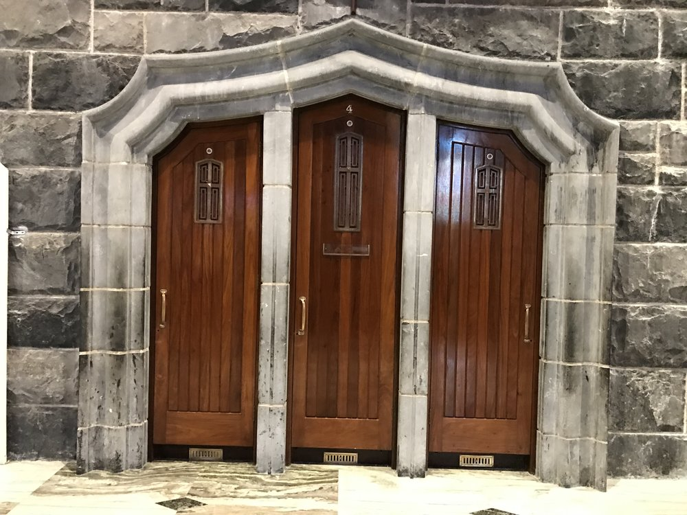 This cathedral used to be a prison long time ago, then was redone with this elegant stone into the cathedral it is today. These doors, however, were used at the time that it was a prison. So pretty!