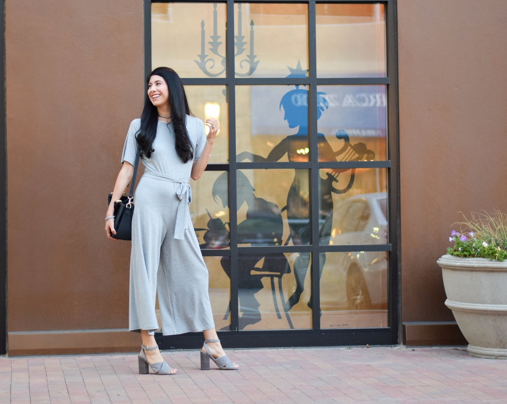 Vanessa in Dallas ASOS DESIGN Jersey Jumpsuit With Tie Waist And Culotte Leg