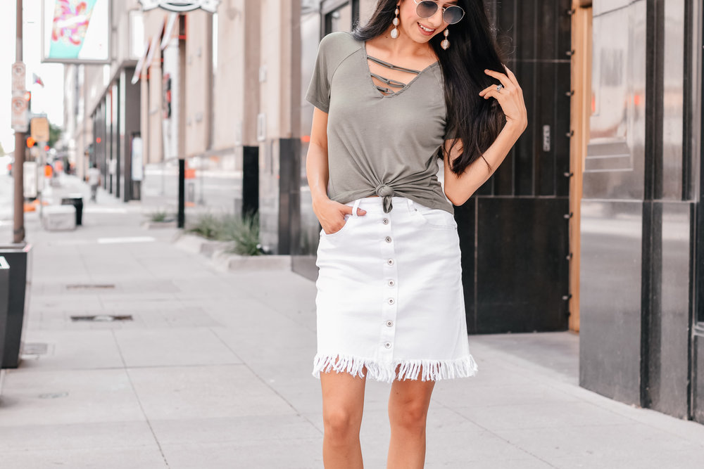 White Denim Fringe Skirt by Stage.com