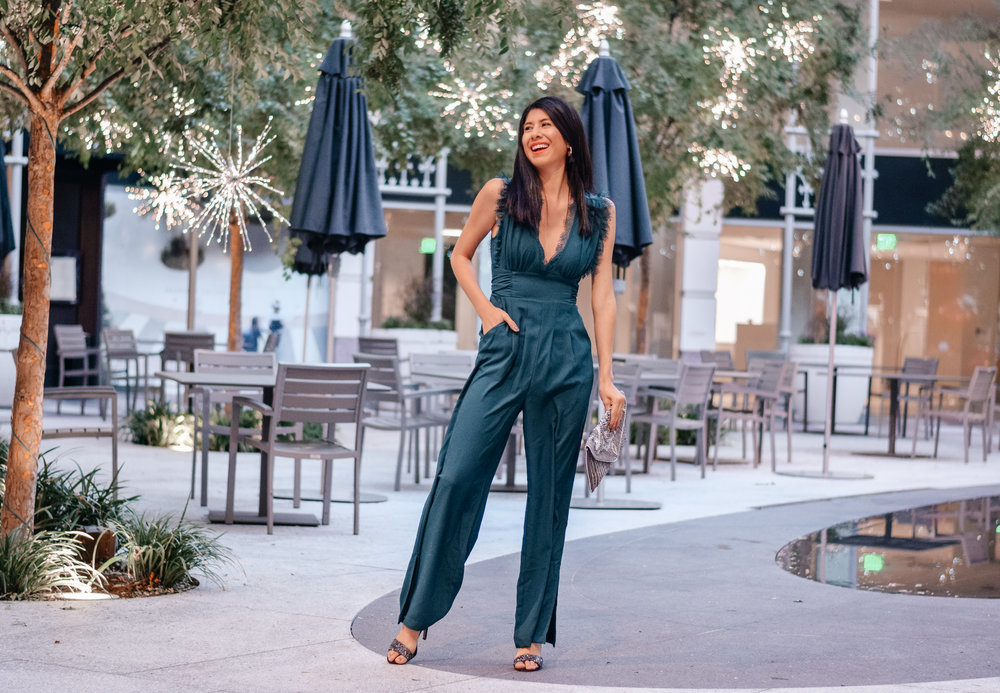 Francesca's Northern Light Collection-    Mira Lace Neckline Jumpsuit