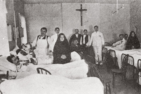 "Men's Ward, Columbus Hospital, New York (ca. 1905). From Sullivan, Mary Louise, MSC. ""Mother Cabrini: Italian Immigrant of the Century."" New York: Center for Migration Studies, 2001. Page 200."