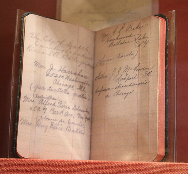 Mother Cabrini's address and telephone book displayed at the National Shrine in Chicago