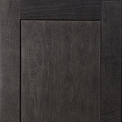 Kitchen cabinets in deep slate-stained maple; soft close hinges and drawer slides; brushed chrome pulls