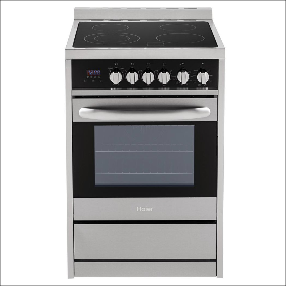 Stainless steel electric range; smooth glass top; European convection oven